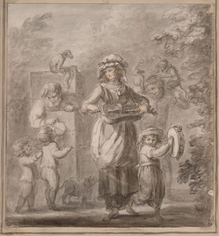 Diana Beauclerk, <em>Street Musicians and Monkeys</em>, 1780-1795, ink drawing with watercolour highlights, Purchased 2015 with Ellen Eames Collection funds. Te Papa (2015-0056-1)