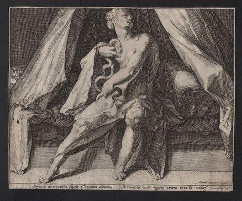 Jan Harmensz. Muller, <em>Cleopatra</em>, 1592, engraving. Purchased 2015 with Ellen Eames Collection funds. Te Papa (2015-0056-4)