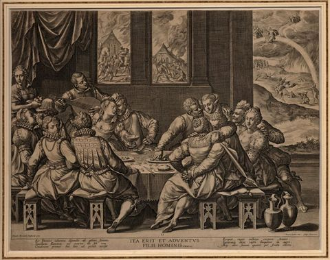 Jan Sadeler I, <em>Mankind awaiting the Last Judgement</em>, 1580-1584, engraving, Purchased 2015 with Harold Beauchamp Collection funds. Te Papa (2015-0056-7)