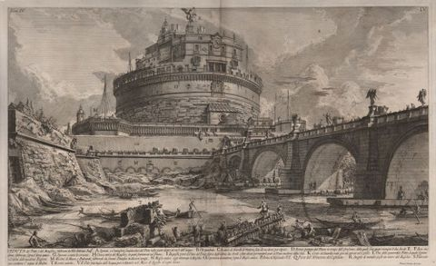 Giovanni Battista Piranesi, <em>View of the Bridge and Mausoleum, built by the Emperor Hadrian</em>, from <em>Antichità Romane (Roman Antiquities)</em> vol. IV, plate IV, 1756, etching, Purchased 2015 with Ellen Eames Collection funds. Te Papa (2015-0056-6)