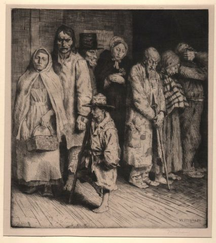 William Strang, <em>The cause of the poor</em>, 1890, etching, Purchased 2015 with Sir John Ilott Charitable Trust funds. Te Papa (2015-0056-8)