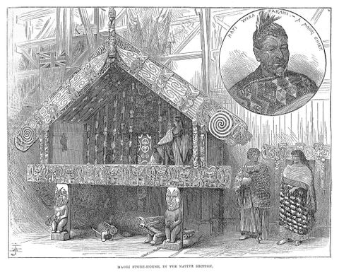 Engraver unknown, 'Maori storehouse in the native section', <EM>Illustrated London News</EM>, 2 October 1886.