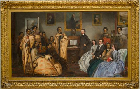 James Smetham, <EM>The New Zealand Chiefs in Wesley's House</EM>, 1863, oil on panel