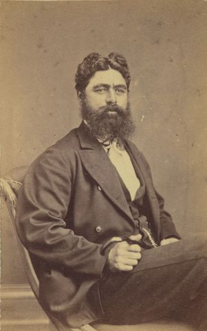 "William James Batt, <EM>Wiremu Parata Te Kakakura Waipunaahau</EM>, 1871-76, albumen silver print, Purchased 1916. <A href=""http://collections.tepapa.govt.nz/object/1463434"">Full object info is available on collections.tepapa.govt.nz</A>"