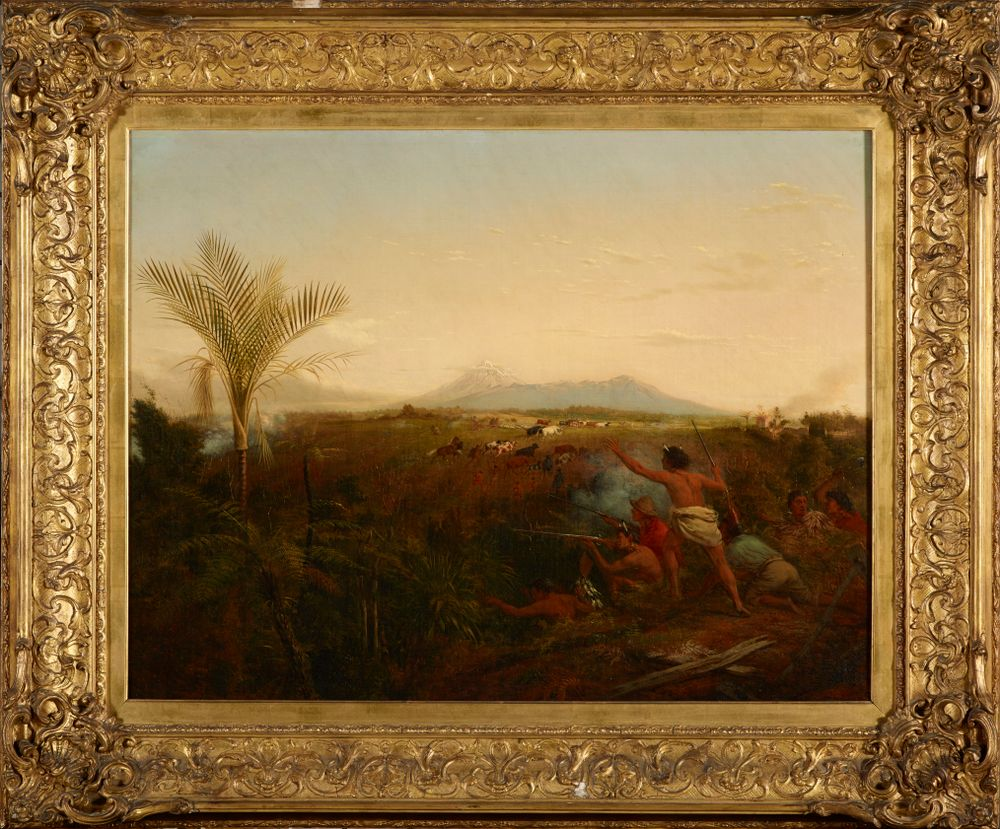2015-0042-1; View of Mt Egmont, Taranaki, New Zealand, taken from New Plymouth, with Maoris driving off settlers' cattle; 1861; Maori; Strutt, William; with frame