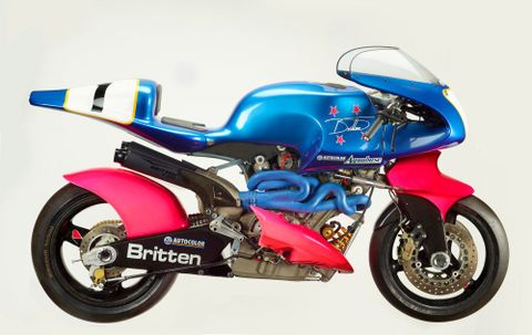 T000649; Britten V1000 motorcycle; 1992; Britten Motorcycle Company Ltd; right, side, view 1 (image/tiff)