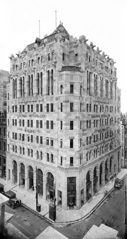 Gordon H. Burt, Colonial Mutual Life building, Wellington, circa 1935. Digital composite from two black and white negatives. Purchased 1999 with New Zealand Lottery Grants Board funds.
