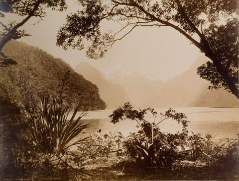 Burton Brothers, <EM>Milford Sound</EM>, <EM>c</EM>.1880, albumen print, 13½  x 17 ½  inches. Barrar-Hines Collection.
