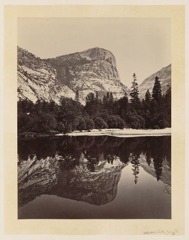 Carleton Watkins, <EM> Mirror Lake, Yosemite</EM>, <EM>c</EM>. 1865, albumen print, 521 x 399 mm. Library of Congress.