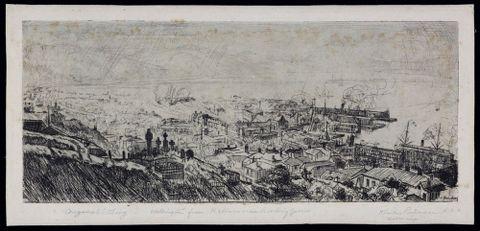 Harry Linley Richardson <EM>Wellington from Kelburn near Bowling Green</EM>, 1916, etching, 115 x 270mm. Alexander Turnbull Library