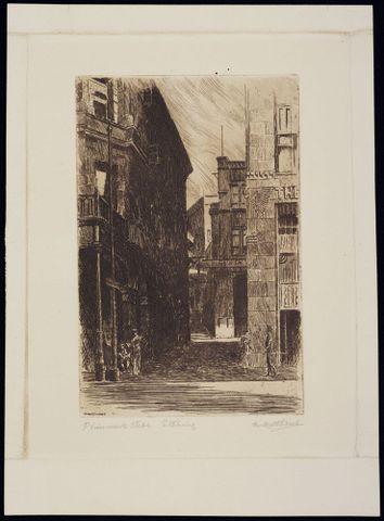 Marmaduke Matthews, <EM>Plimmers Steps</EM>, <EM>c</EM>. 1935, etching, 193 x 127mm. Alexander Turnbull Library