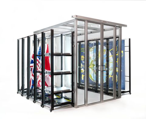 Simon Denny, <EM>Modded server-rack display with David Darchicourt commissioned map of Aotearoa New Zealand</EM>, 2015. Photograph by Nick Ash