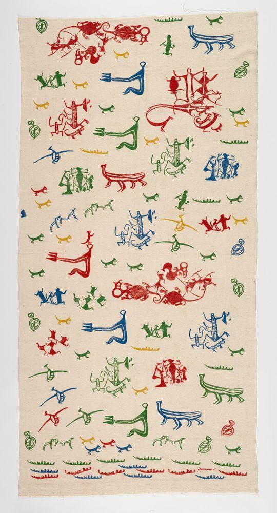 GH017983; Curtain; circa 1950; Fairburn, A. R. D.; woven cotton, hand block printed; New Zealand; Recto