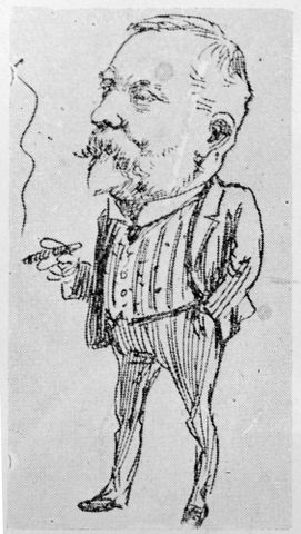Blomfield, William, 1866-1938. Photograph of a cartoon drawing depicting Harold Beauchamp by W Blomfield.