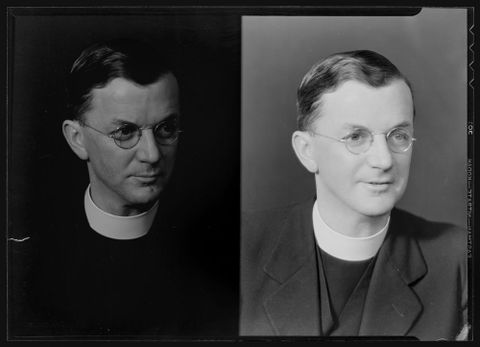 Father Higgins, 1935. By Spencer Digby Studios. Half-plate negative. Te Papa, B.077731