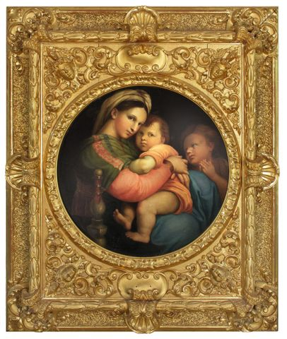<EM>Unknown</EM> artist (18th-19th century) Italy or France. After Raffaelo Sanzio, known as Raphael (1483-1520) Italy, <EM>Madonna della Sedia (Madonna of the Armchair)</EM>, Oil on canvas. Collection of the Sarjeant Gallery Te Whare o Reua Whanganui, Purchased before 1922. Reproduced courtesy of Sargeant Gallery Te Whare o Rehua Whanganui