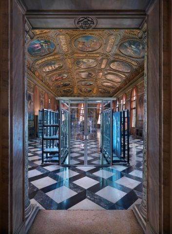 <em>Simon Denny: Secret Power</em>, 2015. Installation view, Marciana Library, Venice, 2015. Photograph by Jens Ziehe