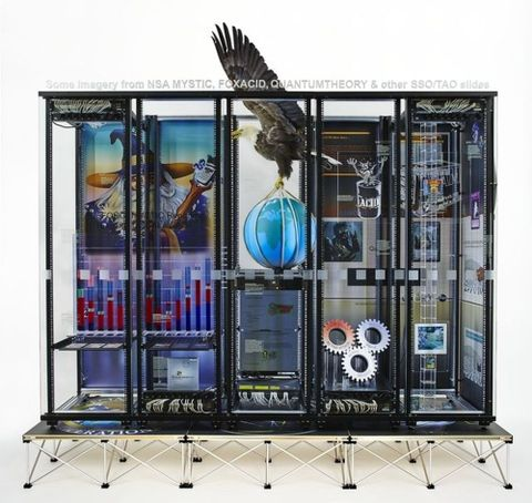 Simon Denny, <em>Modded Server-Rack Display with Some Interpretations of Imagery from NSA MYSTIC, FOXACID, QUANTUMTHEORY, and Other SSO/TAO Slides</em>, 2015, Te Papa (2015-0052-1/AA-KO to KO-KO). Photograph by Nick Ash