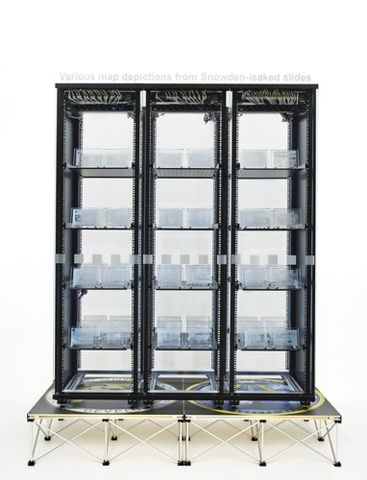 Simon Denny, <em>Modded Server-Rack Display with Some Interpretations of Various Map Depictions from Snowden-Leaked Slides</em>, 2015, Te Papa (2015-0052-2/AA-ER to ER-ER). Photograph by Nick Ash