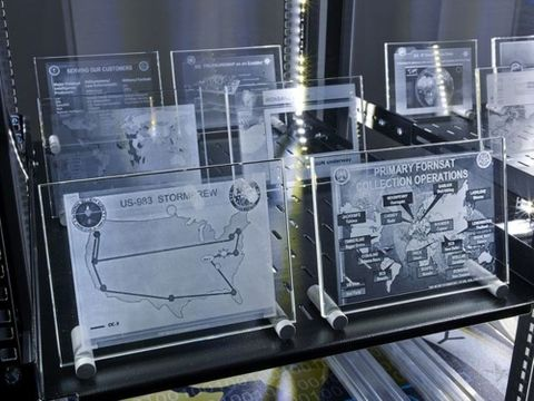 Simon Denny, <em>Modded Server-Rack Display with Some Interpretations of Various Map Depictions from Snowden-Leaked Slides</em>, 2015 (detail), Te Papa (2015-0052-2/AA-ER to ER-ER). Photograph by Nick Ash