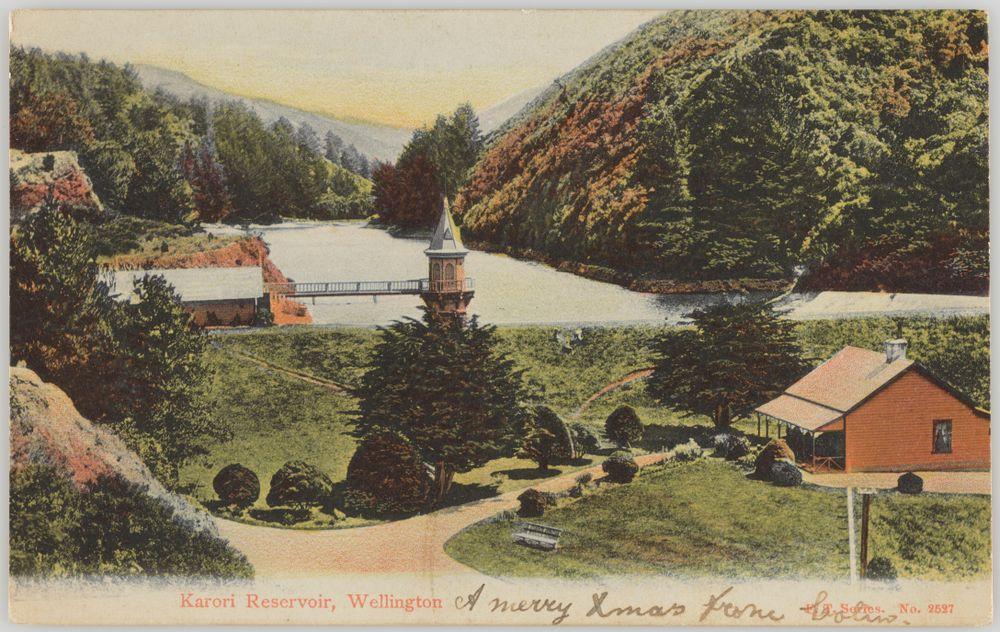 PS.000659; Karori Reservoir, Wellington; 1900-1910; Unknown ; view 1
