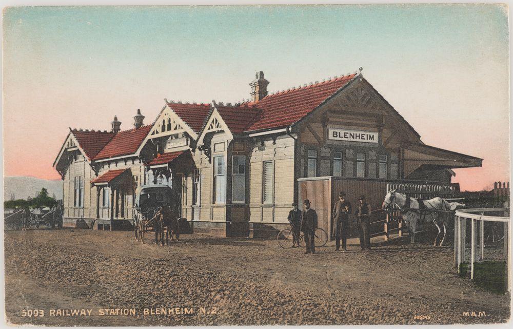 PS.002580; Railway Station, Blenheim, New Zealand; 1904-1915; Muir & Moodie studio ; view 1