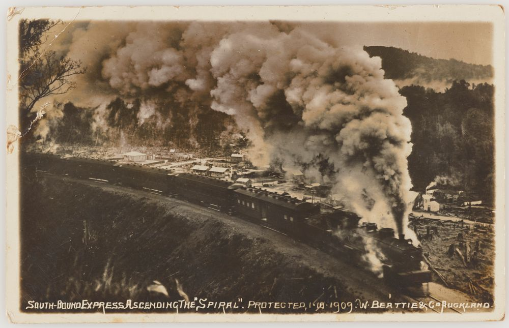 PS.002623; South-bound Express Ascending the 'Spiral'; circa 1909; W. Beattie & Co. ; view 1