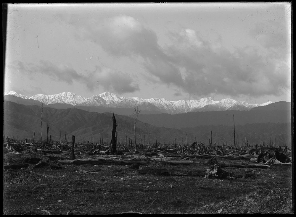 Leslie Adkin. The Tararuas in winter. Mt Dundas and neighbouring peaks with a mantle of winter, 20 August 1909. Gelatin silver print. Te Papa (B.020957)