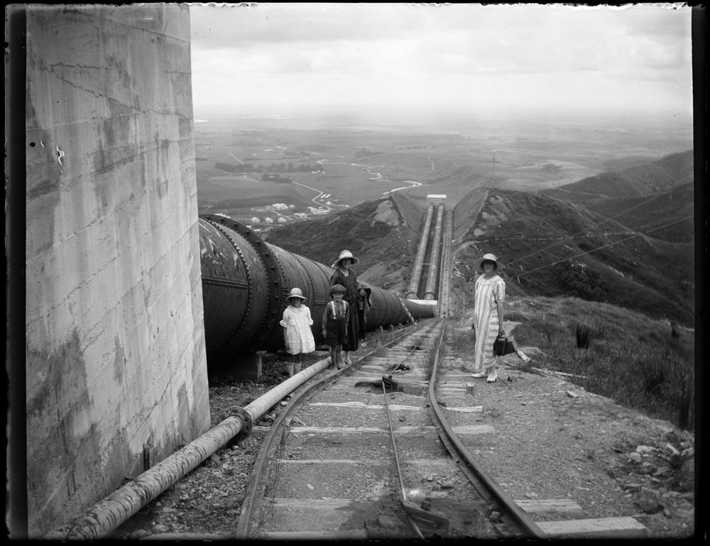 "Leslie Adkin. Pipe-line looking down towards the ""deep cut"" at Mangahao Hydro-electric power station, 1 Jan 1925. Gelatin silver print. Te Papa (A.006205)"