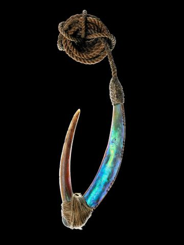 Traditional Maori fish hooks and trolling lures