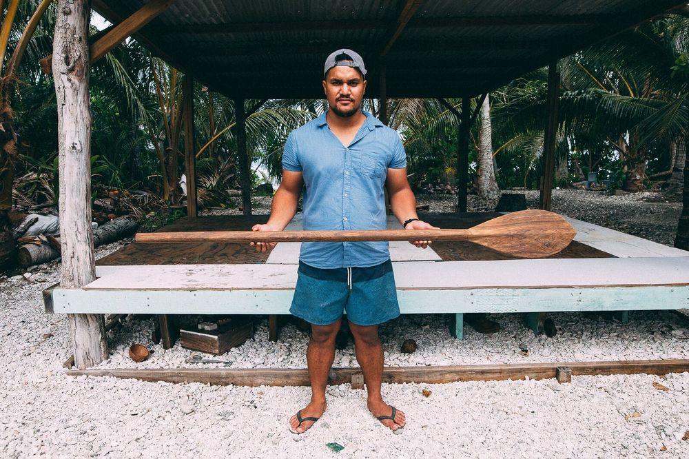 Co-collector Le Naponita Lepaio (Poni) holding a paddle, Atafu, Tokelau