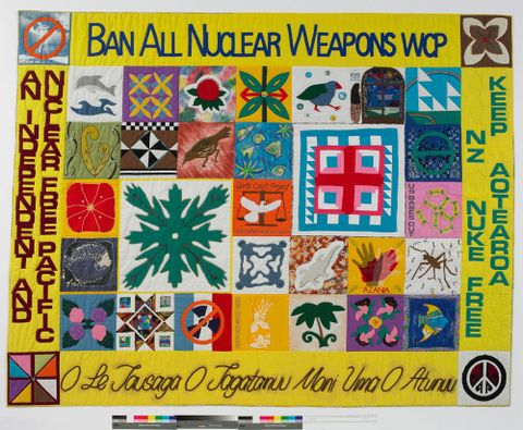 'Nuclear-Free Quilt', 1994, Auckland, by Joanne Bains, Pacific Island women. Purchased 1998 with New Zealand Lottery Grants Board funds. Te Papa (GH007076)