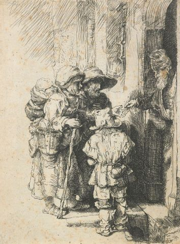 1869-0001-425; Beggars receiving alms at the door of a house. (Reverse copy after Rembrandt's 'Beggars receiving alms at the door of a house'.); Unknown; without frame (image/jpeg)