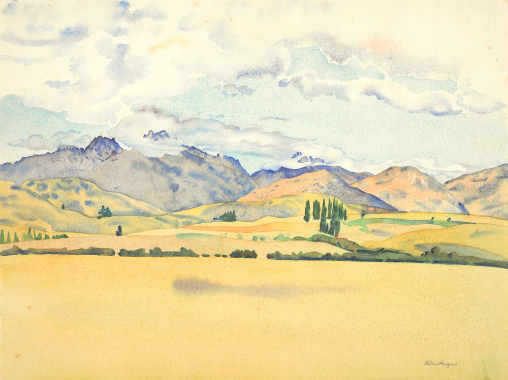 1972-0030-12; Sketch for Central Otago (Cecil Peak, Arrowtown); 1953; Angus, Rita