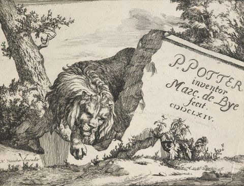 1869-0001-60; Lions. Untitled (title plate).; 1664; de Bye, Marcus; without frame (image/jpeg)