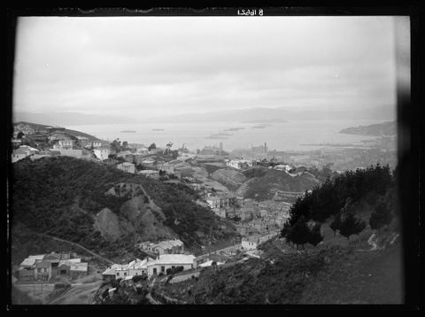 [View of Wellington Harbour with Japanese and New Zealand troopships in harbour], October 1914, New Zealand. Photographed by John Haines. Te Papa