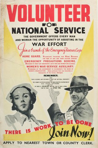 GH014036; Poster, 'Volunteer For National Service'; Late 1940; E. V. Paul, Government Printer (image/jpeg)
