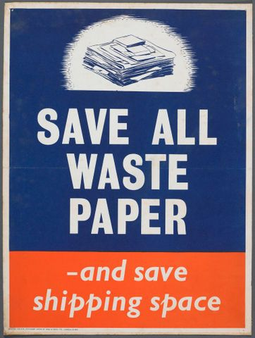 Poster, 'Save all waste paper'