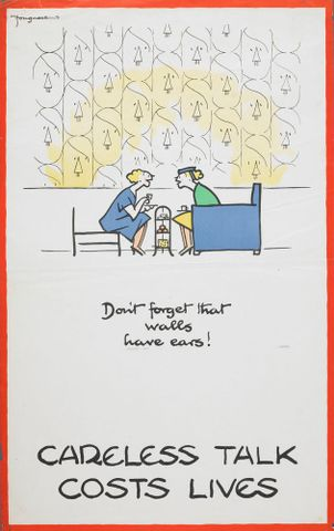 GH015336; Poster, 'Careless talk...Don't forget that walls have ears!'; 1940; Fougasse (image/jpeg)