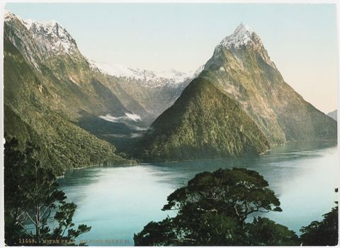 O.027263; Mitre Peak, Milford Sound II; Circa 1905; New Zealand Government Tourist Department (image/jpeg)