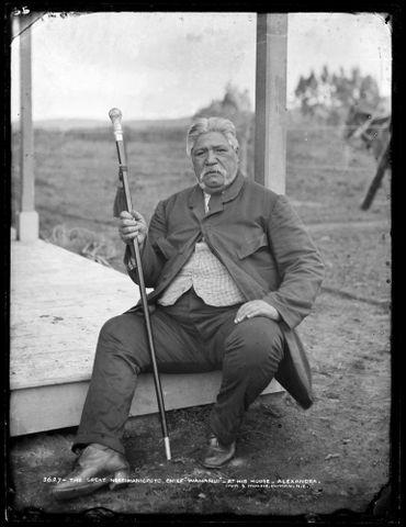 The great Ngati Maniopoto chief Wahanui at his house - Alexandra