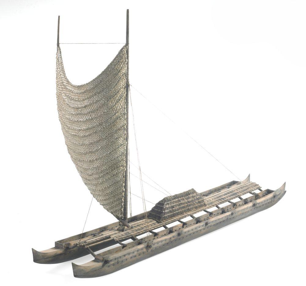 Model wa'a kaulua (sailing canoe from Hawaiian Islands
