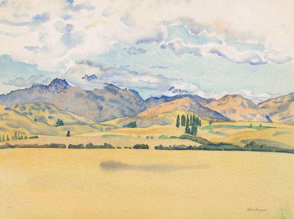 1972-0030-12; Sketch for Central Otago (Cecil Peak, Arrowtown); 1953; Angus, Rita ; view 1