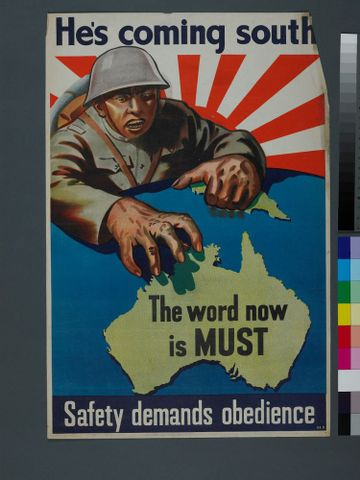 GH015712; Poster, 'He's Coming South'; 1942; Department of Information (image/tiff)