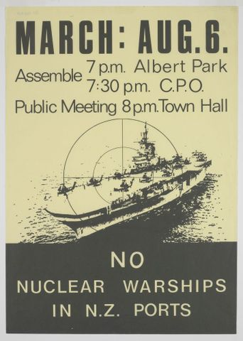 GH014460; Poster, 'No Nuclear Warships in N.Z. Ports'; 1976; Campaign Against Nuclear Warships (image/tiff)