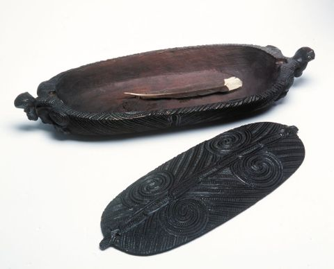 Object type: Treasure box Indigenous name: Wakahuia Culture/location: Māori, New Zealand Date: 19th century Materials: Wood, stain, paua shell Dimensions: L. 480 x W. 165 x D. 80 mm. Institution and accession number: Museum of New Zealand, Te Papa Tongarewa, WE000946