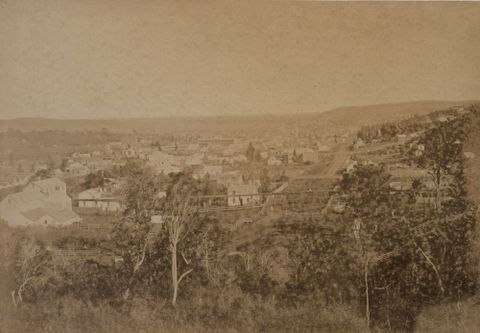 Dunedin: from Pine Tree Hill. From the album: Otago Photographic Album; 06.1867; Frith, Henry