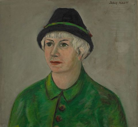 Betty Isaacs, the artist's wife, in green