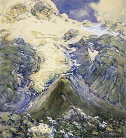 Stoddart, Margaret. Snow - Stocking Glacier. 1930's. Watercolour. 1936-0012-283; cropped (image/jpeg)