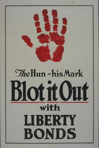 GH014069; Poster, 'The Hun - his Mark';1917; St. John, James Allen; Mylar-encapsulated paper poster; cropped (image/jpeg)
